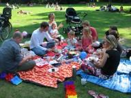 Platz für tolle Gäste ist auf der engsten Picknickdecke